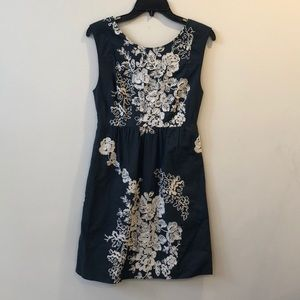 J Crew floral embroidered gray midi dress size 0